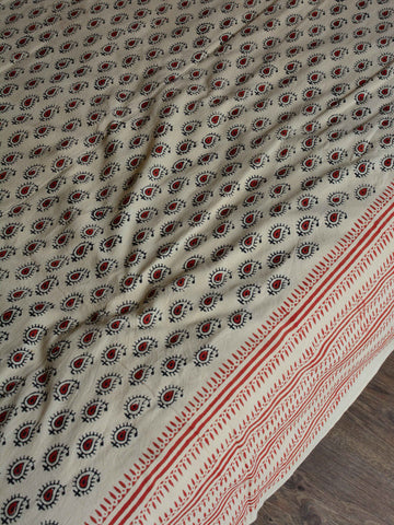 20x20  Cotton Handblock Printed King Size Bedsheet-Beige & Red