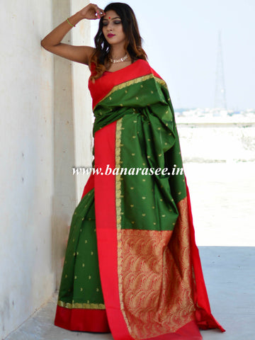 Banarasee Art Silk Saree With Floral Woven Contrast Pallu & Border-Green & Red