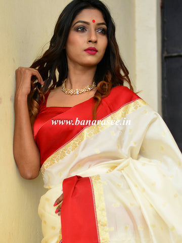 Banarasee Art Silk Saree With Floral Woven Contrast Pallu & Border-White & Red
