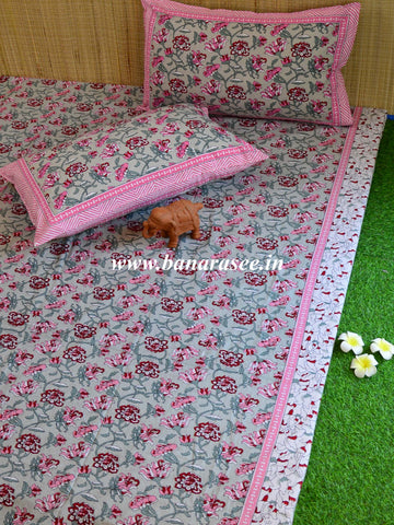 Cotton Handblock Printed Queen Size Bedsheet-Green