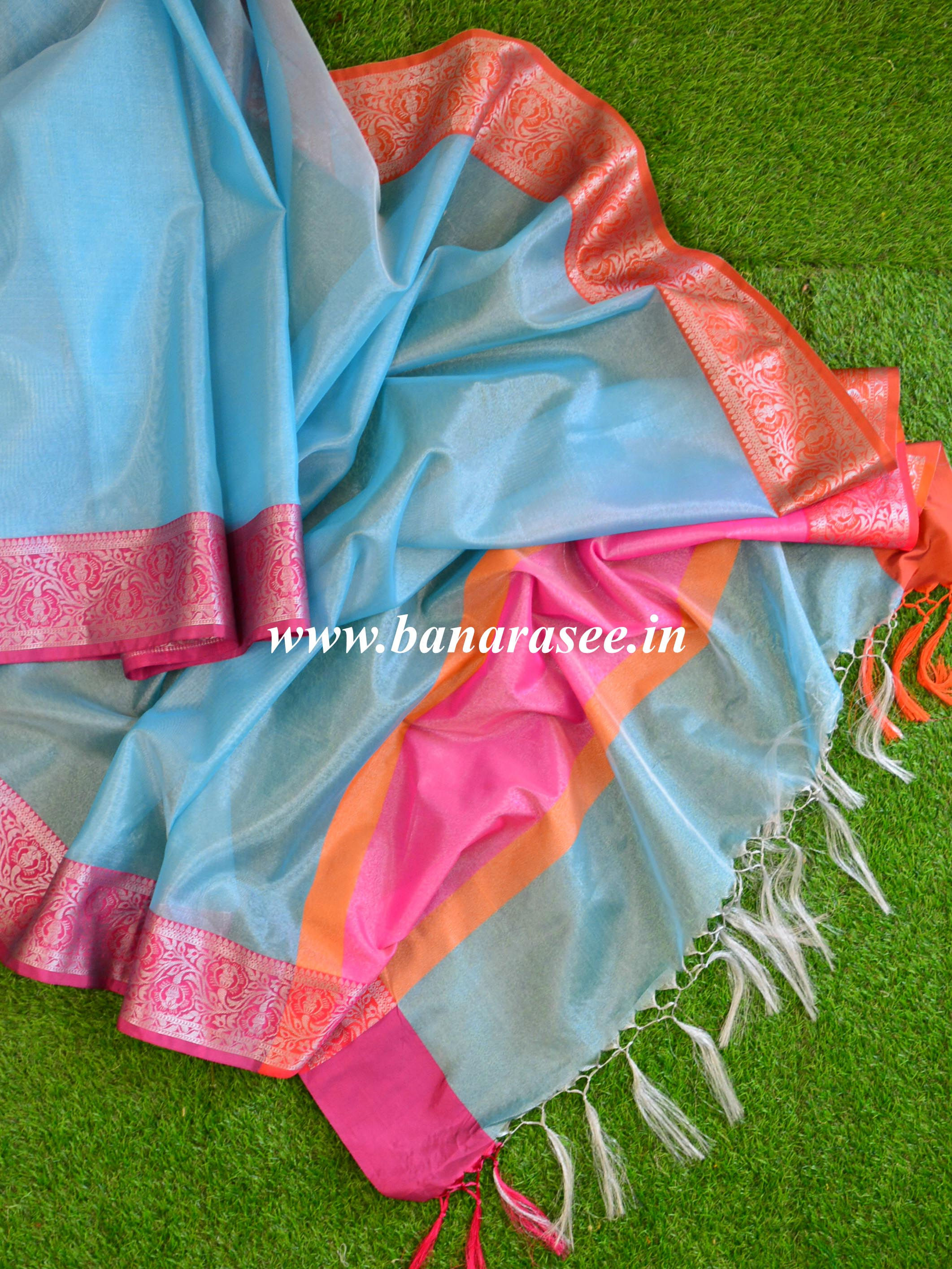 Banarasee Tissue Saree With Ganga Jamuna Border-Blue(Silver Tone)