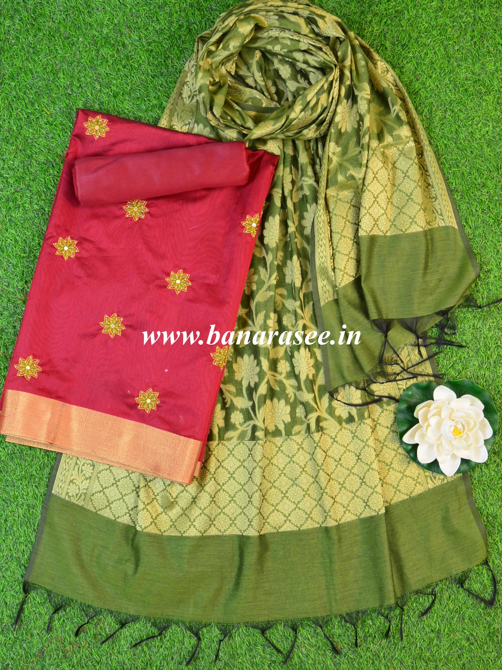 Banarasee Chanderi Cotton Mirror Work Salwar Kameez Dupatta Set-Maroon & Green