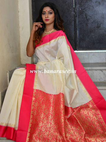 Banarasee Art Silk Saree With Floral Woven Contrast Pallu & Border-White & Pink