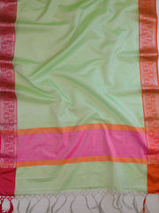 Banarasee Tissue Saree With Ganga Jamuna Border-Pista Green