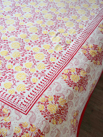 Premium Cotton Handblock Printed King Size Bedsheet-White & Red