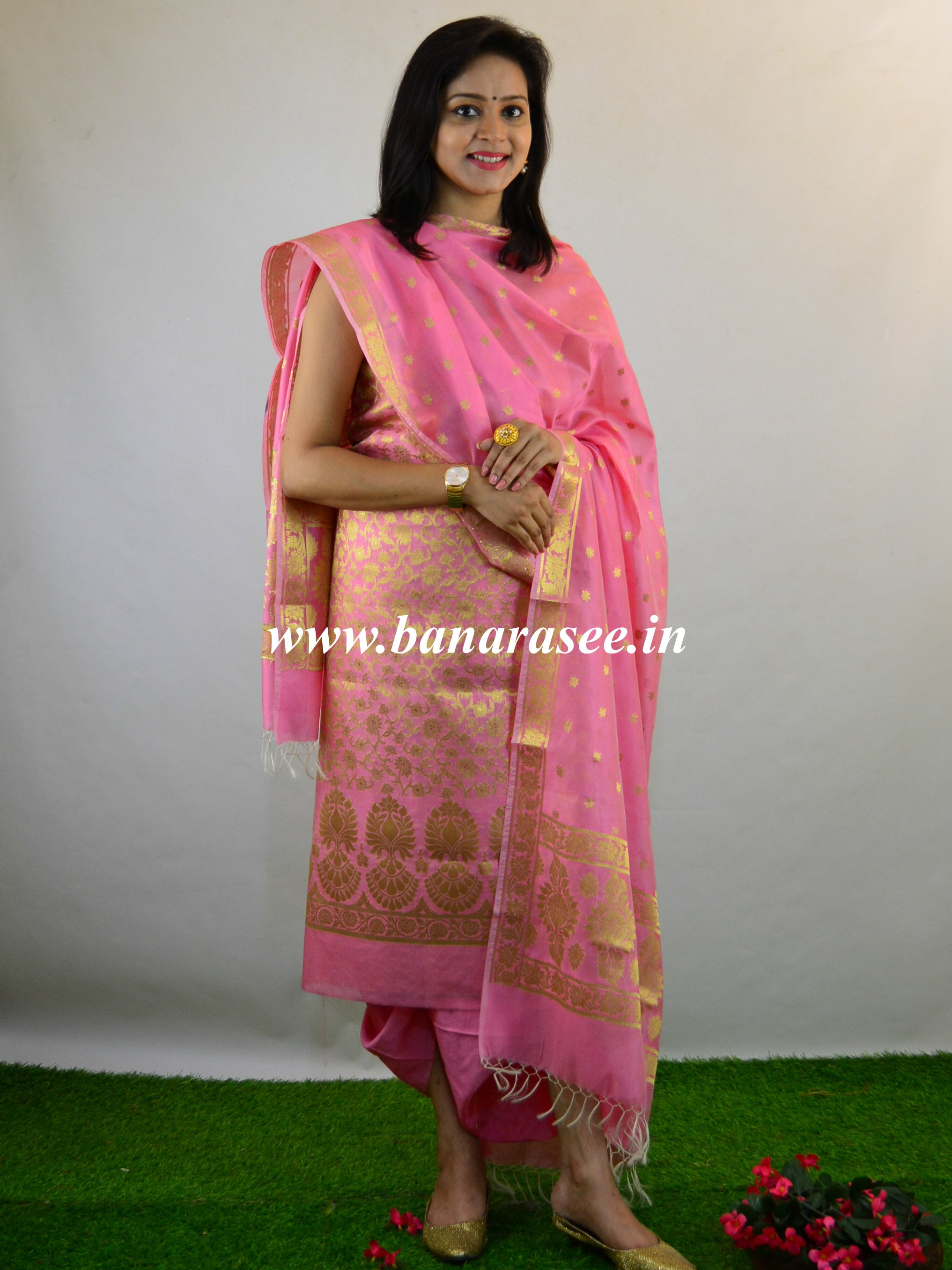 Banarasee Salwar Kameez Cotton Silk Gold Zari Buti Woven Fabric-Pink