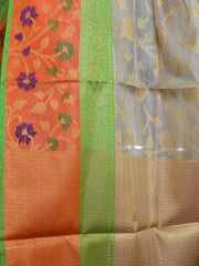 Banarasee Handwoven Tissue Jaal Work Saree With Contrast Border-Gold