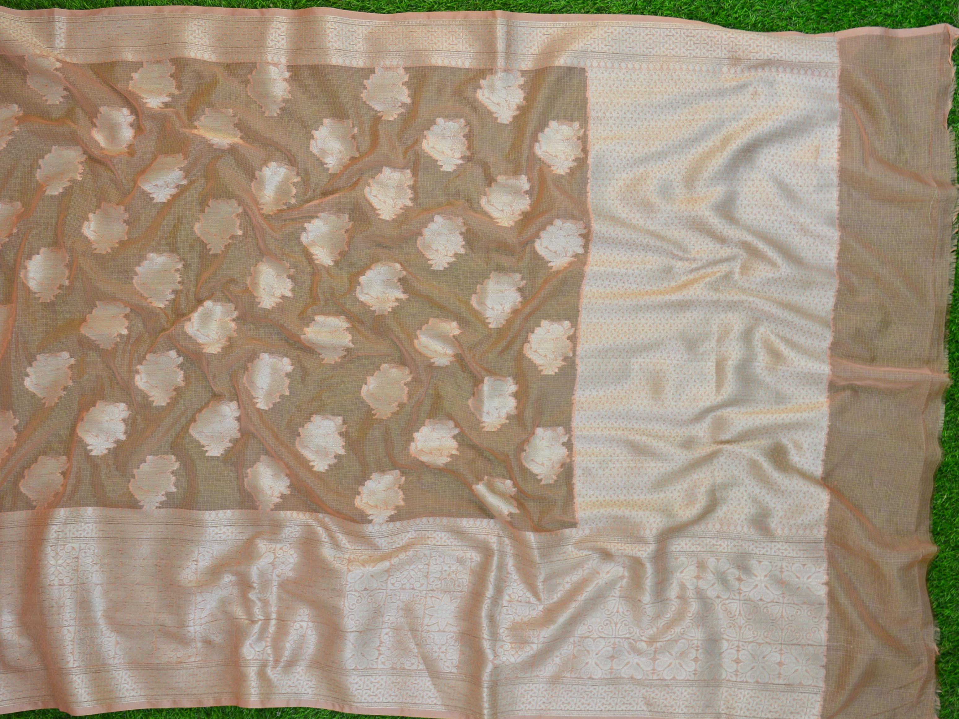 Banarasee Handwoven Kota Silk Mix Sari With Silver Zari Work-Peach
