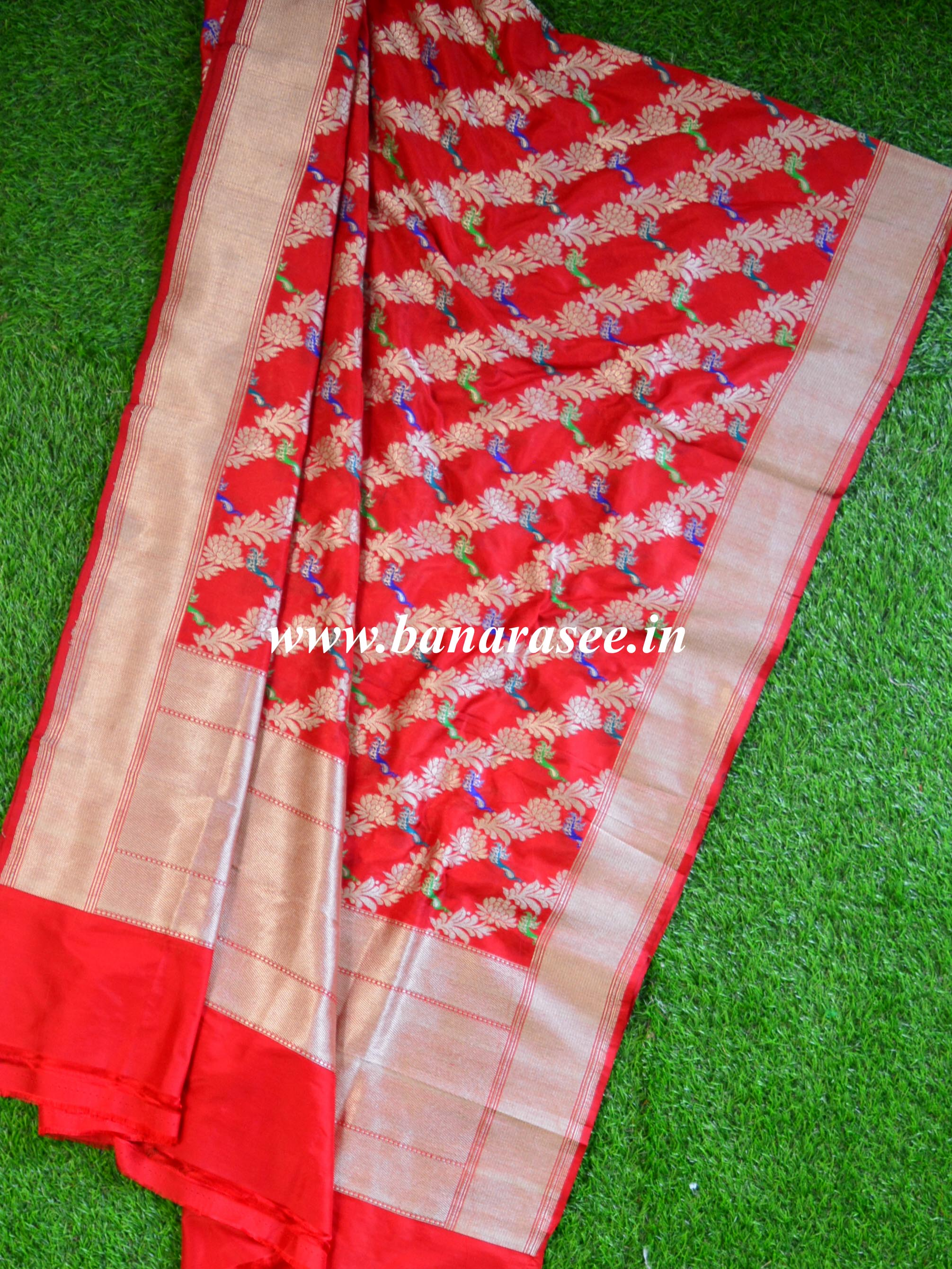 Banarasee Handwoven Pure Katan Silk Dupatta With Peacock Motif Design-Red