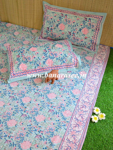 Premium Cotton Handblock Printed King Size Bedsheet-Blue