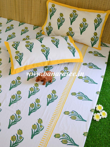 Premium Cotton Handblock Printed King Size Bedsheet-White