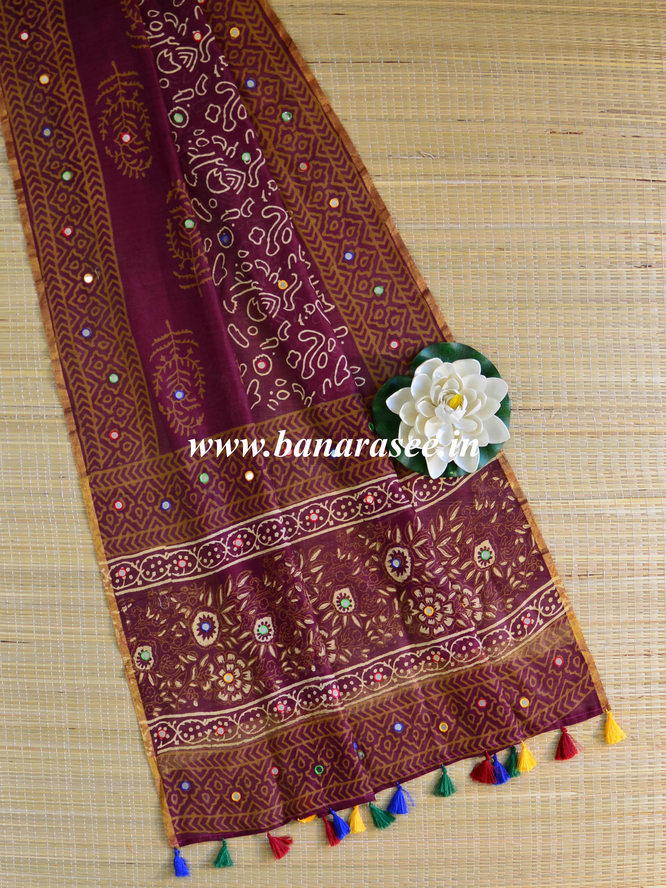 Banarasee Chanderi Bagru Print Dupatta With Mirror Work & Tassels-Maroon
