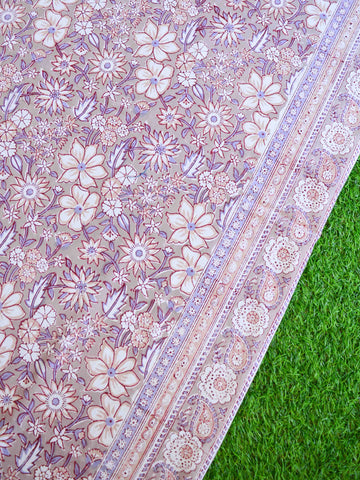 Premium Cotton Handblock Printed King Size Bedsheet-Brown