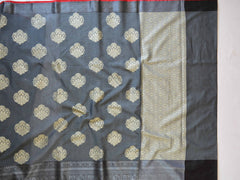 Banarasee Cotton Silk Saree With Resham Buta Design & Skirt Border-Grey