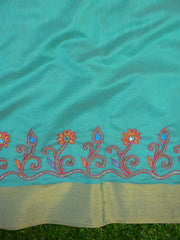 Banarasee Hand-Embroidery Chanderi Cotton Salwar Kameez Fabric With Contrast Dupatta-Green