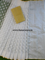 Banarasee Handwoven Net Saree With Self Woven Buti Design & Gold Blouse-White