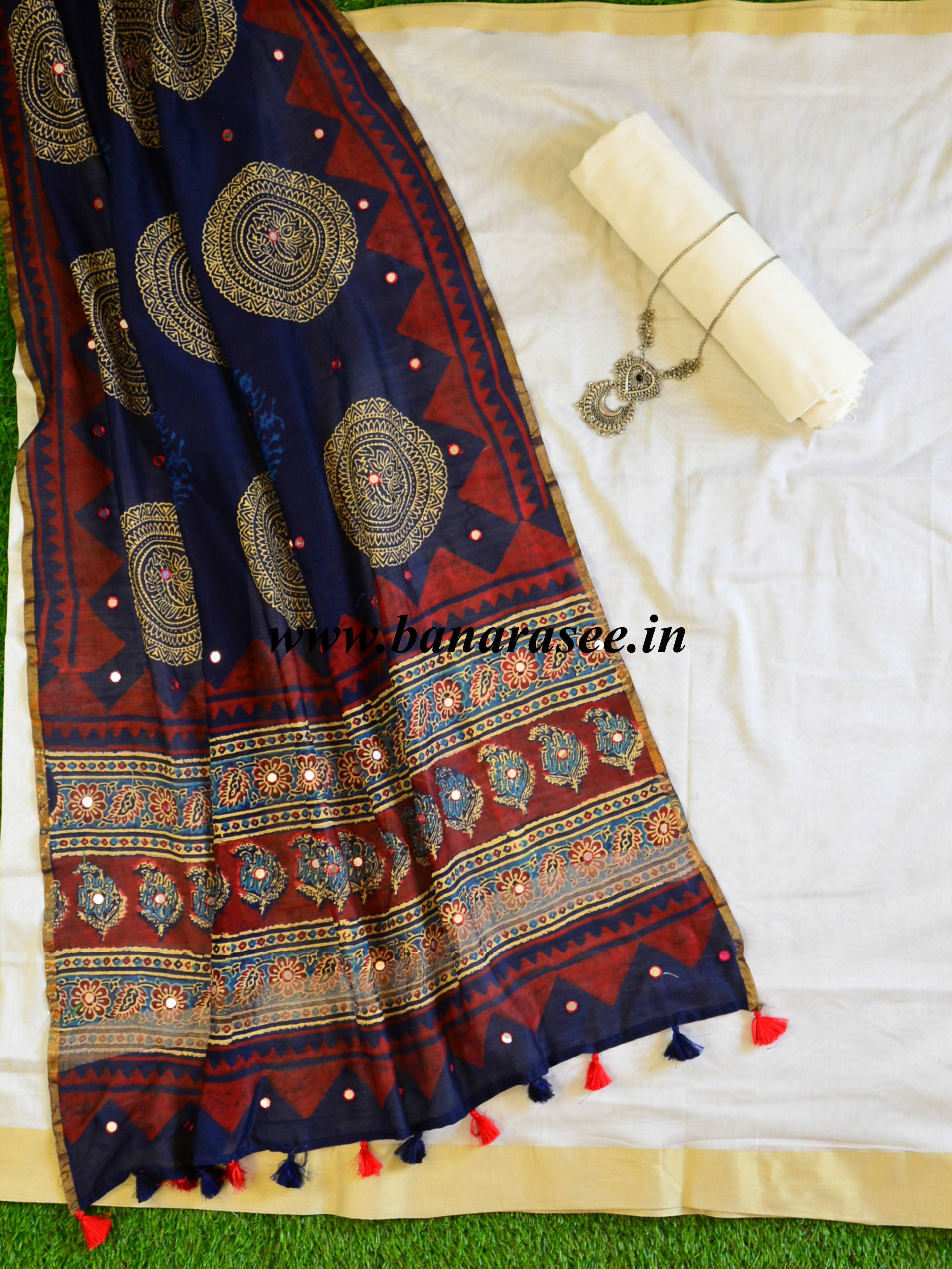 Banarasee Chanderi Salwar Kameez Fabric With Mirror Work Indigo Ajrakh Dupatta-White