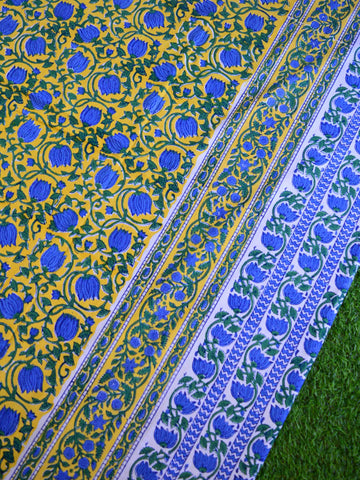Premium Cotton Handblock Printed King Size Bedsheet-Yellow