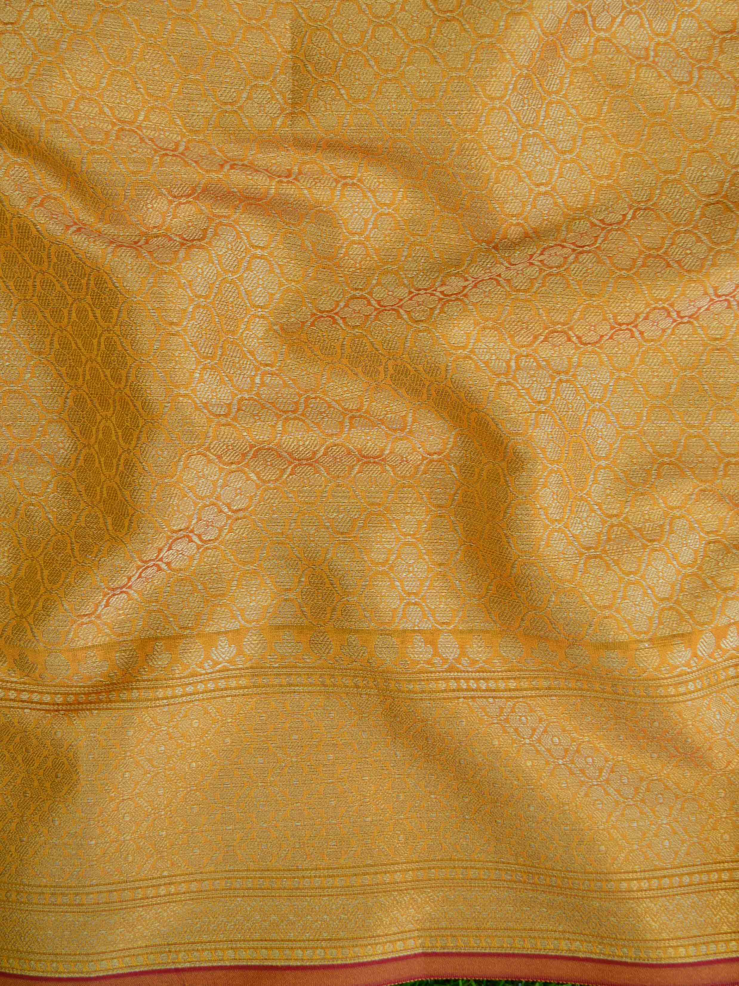 Banarasee Cotton Silk  Saree With Zari Buti & Border-Yellow