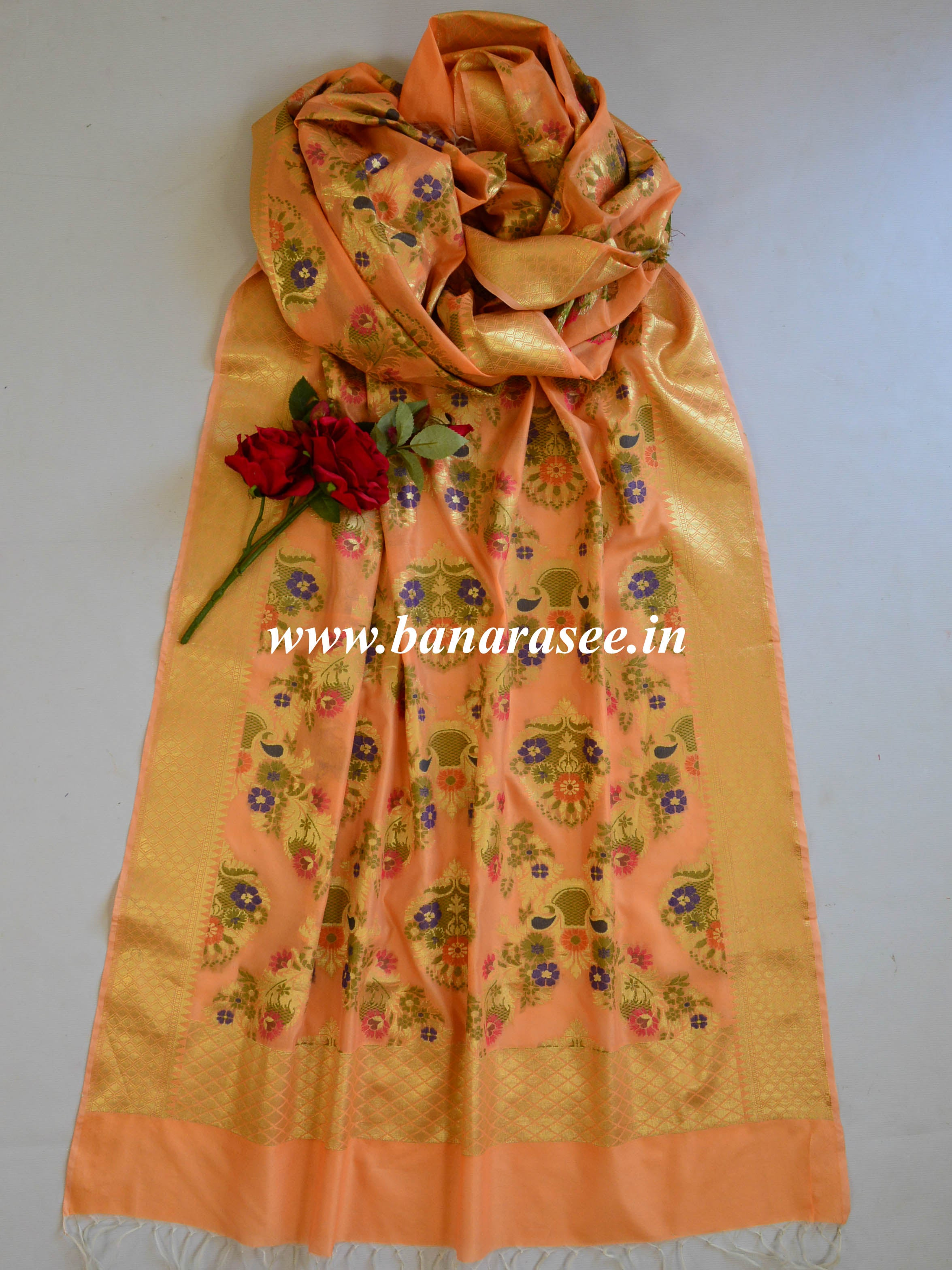 Art Silk Meena Work Jaal Design Dupatta-Coral