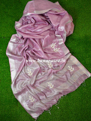 Banarasee Handloom Pure Linen By Tissue Saree With Pearl Embroidery-Onion Pink