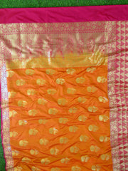 Banarasee Handwoven Georgette Silk Saree With Big Buta and Triangle Border Design-Gold(Orange Tone)