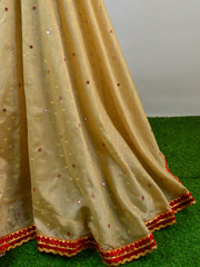 Banarasee Stitched Chanderi Lehenga & Blouse Fabric With Red Dupatta-Beige