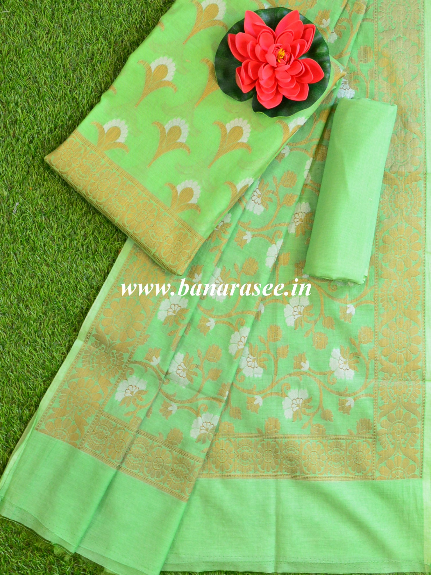 Banarasee Pure Handloom Cotton Sona Rupa Zari Salwar Kameez Set-Mint Green