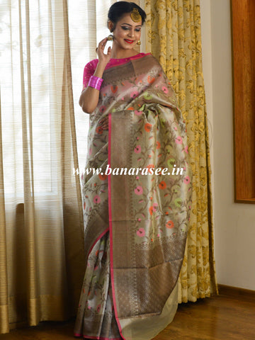 Banarasee Handwoven Tissue With Resham Jaal Work Saree-Silver