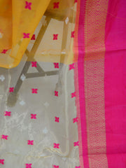Banarasee Handloom Cotton Mix Saree With Satin Border & Tissue Pallu-Yellow