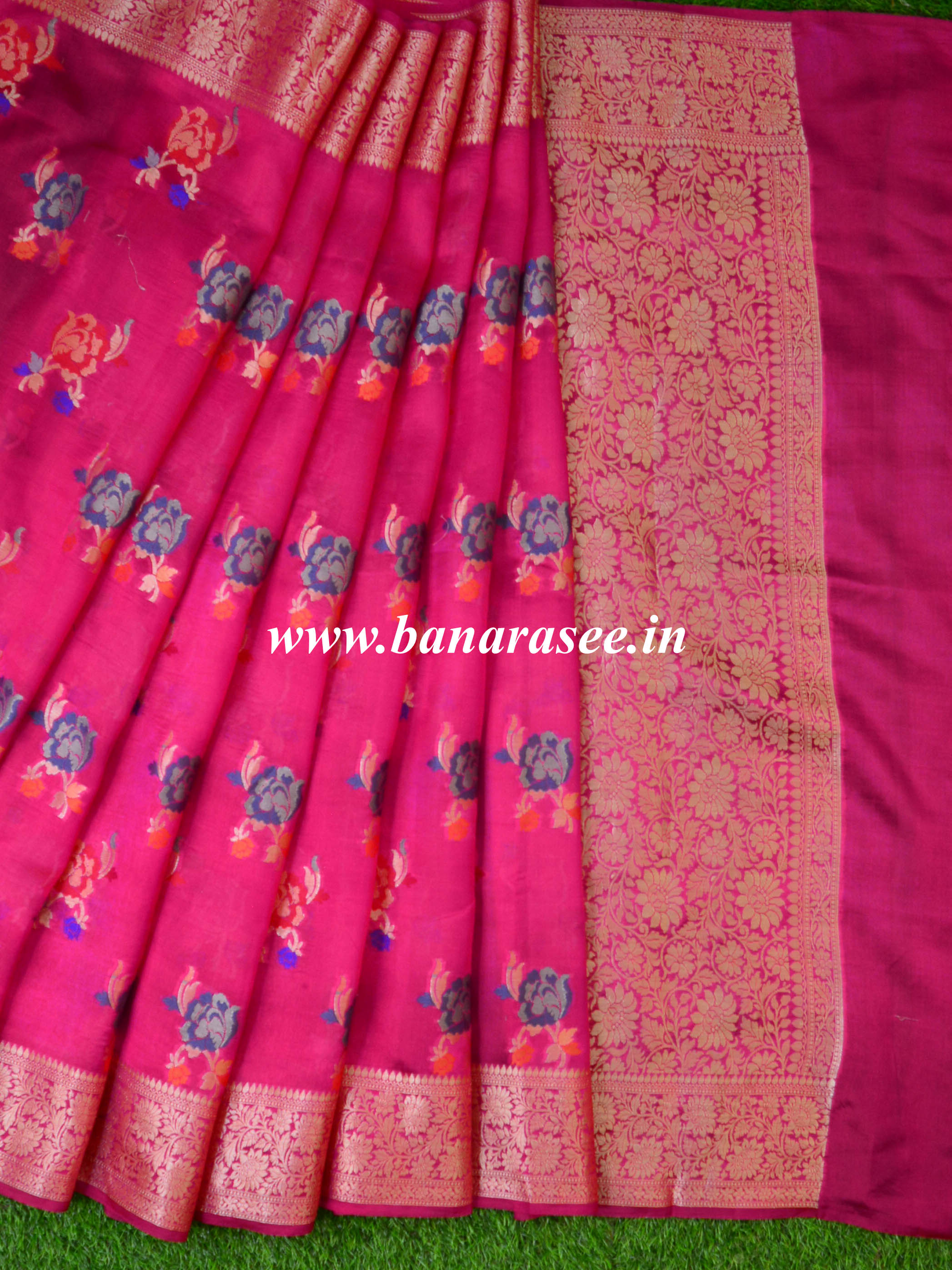 Banarasee Handloom Pure Dupion Silk Saree With Floral Buta Design-Pink