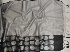 Banarasee HandwovenTissue Saree With Black Skirt Border-Grey