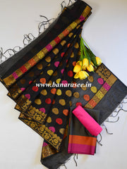Banarasee Cotton Silk Salwar Kameez Fabric With Buta Woven Dupatta-Black