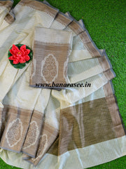 Banarasee Chanderi Cotton Ghichha Border Saree-Off White