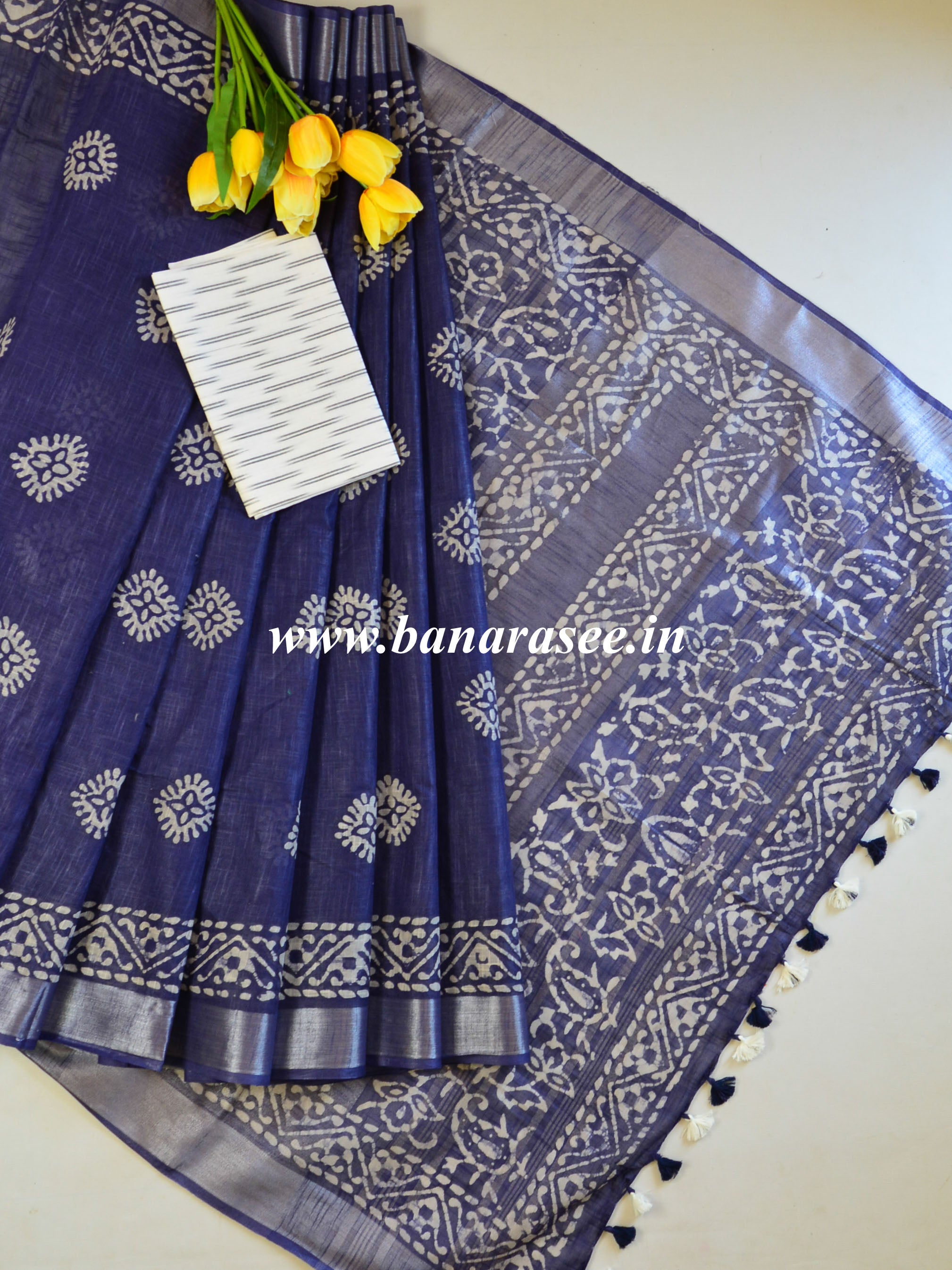 Bhagalpur Handloom Pure Linen Cotton Hand-Dyed Batik Pattern Saree & Ikkat Blouse-Deep Blue