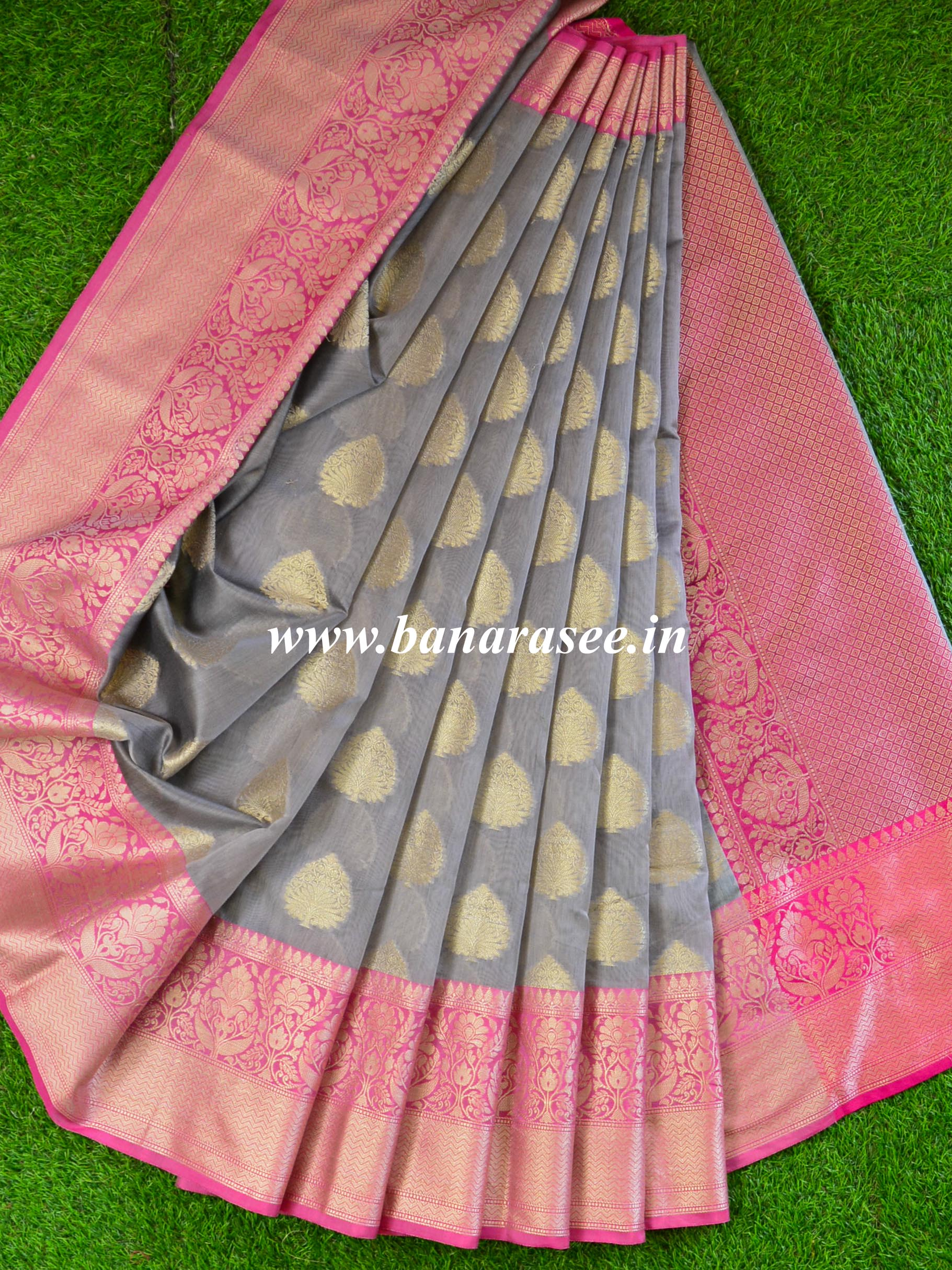 Banarasee Chanderi Cotton Saree With Buta Design & Broad Satin Border-Grey