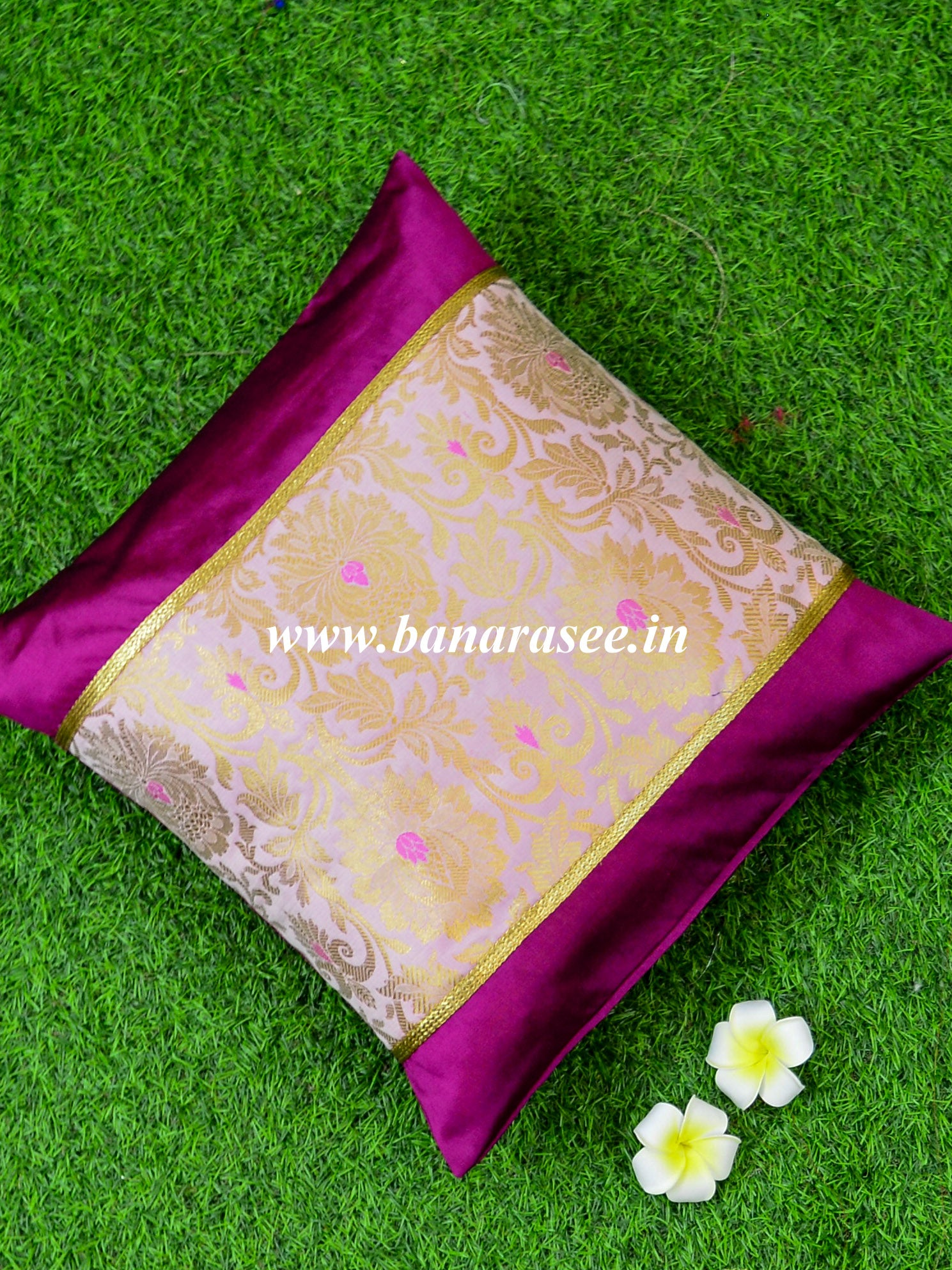Banarasee Brocade Silk Cushion Cover-Pink & Magenta