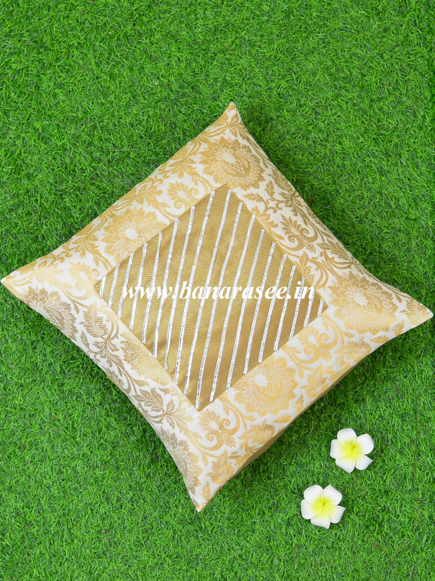 Banarasee Brocade Silk Cushion Cover-White & Gold