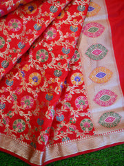 Banarasee Art Silk Dupatta With Multicolor Floral Jaal Design-Red