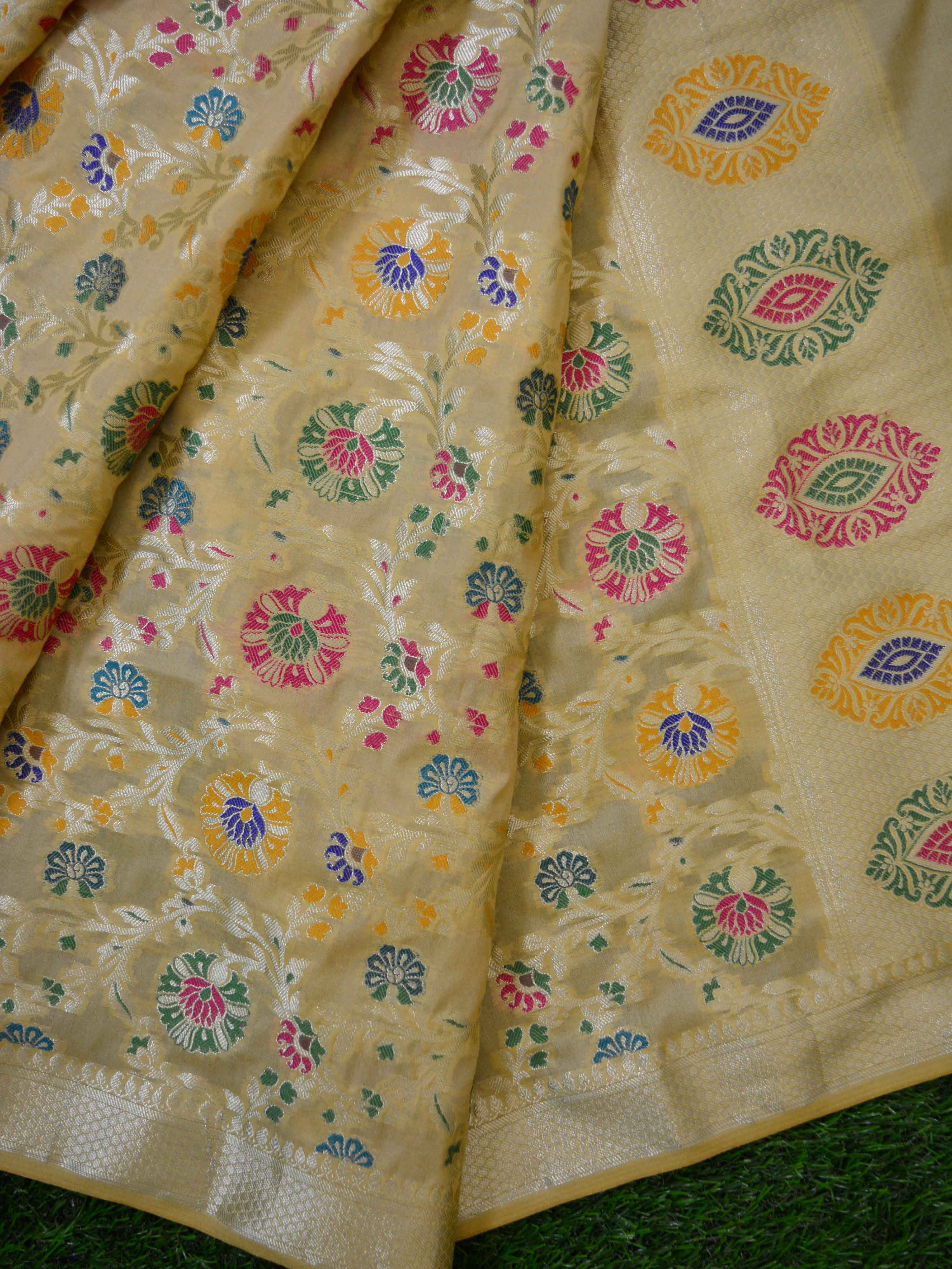 Banarasee Art Silk Dupatta With Multicolor Floral Jaal Design-Gold