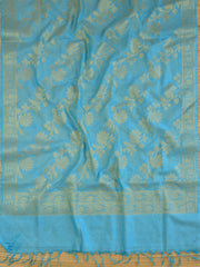 Banarasee Art Silk  Salwar Kameez Fabric With Dupatta-Sky Blue