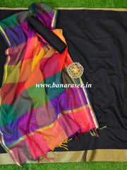 Banarasee Chanderi Cotton Salwar Kameez Fabric With Multicolor Dupatta-Black