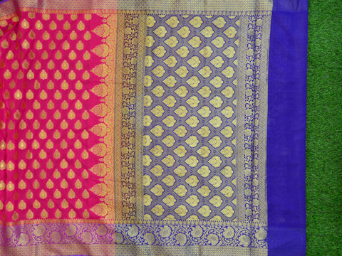 Banarasee Art Silk Saree With Buta Design & Contrast Border-Hot Pink