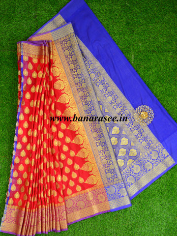 Banarasee Art Silk Saree With Buta Design & Contrast Border-Red