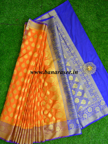 Banarasee Art Silk Saree With Buta Design & Contrast Border-Orange