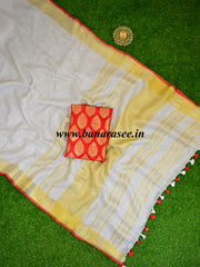Banarasee Handloom Pure Linen Saree With Red Brocade Blouse-Off White