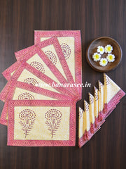 Cotton Handblock Printed Mat & Napkin Set-Beige