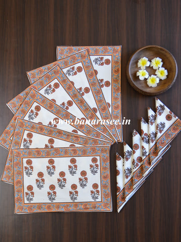 Cotton Handblock Printed Mat & Napkin Set-White
