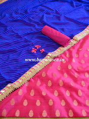 Banarasee Semi-Silk Salwar Kameez With Gota Patti Leheriya Dupatta-Pink & Blue