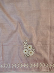 Handwoven Linen Salwar Kameez & Dupatta With Hand-Embroidered Pearl Work-Blush Pink